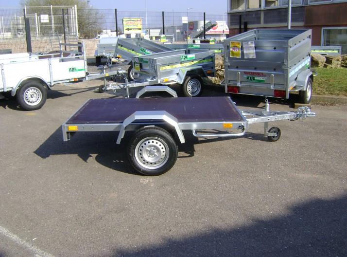 Remorque bois 1 essieu ptac 500 kg, flèche en V- possibilité porte moto