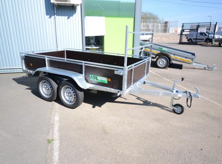 34450- remorque bois 2 essieux non freiné avec porte échelle