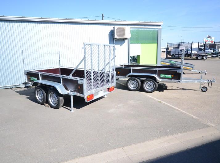 34450- remorque bois 2 essieux non freiné avec porte pont 1m20