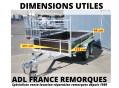 Remorque bois 2 essieux, freiné, dimensions utiles