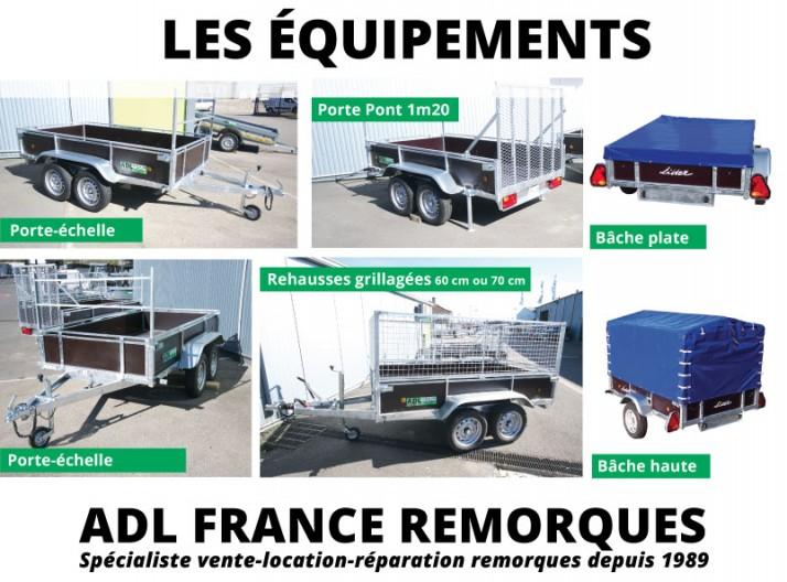 Remorque bois Lider 2 essieux non freiné , les équipements, roue de  secours et support