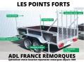 Remorque bois 2 essieux, freiné, Points forts, ailes arrondies, châssis soudé galvanisé, main courante, plancher antidérapant