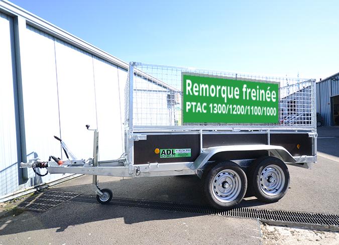 Remorque bois 2 essieux, freiné, PTAC 1300/1200/1100/1000